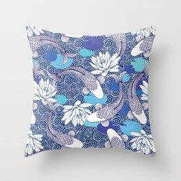 Blue Koi Ripples Throw Pillow