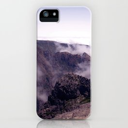 Mountain view in de clouds iPhone Case