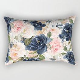 Navy Pink Watercolor Floral Pattern Nursery Flowers Rectangular Pillow