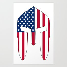 Spartan Helmet USA FLag Art Print
