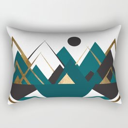 Art Deco Mountain Teepees In Teal Rectangular Pillow