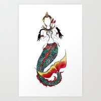 buddah Art Prints featuring Mermaid Buddah by Alissa May