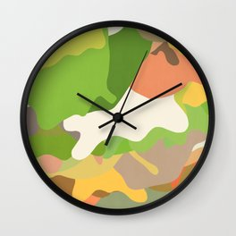 Abstraction in Green and Yellow Wall Clock