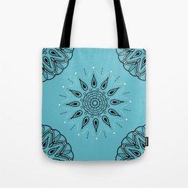 Central Mandala Turquoise Tote Bag