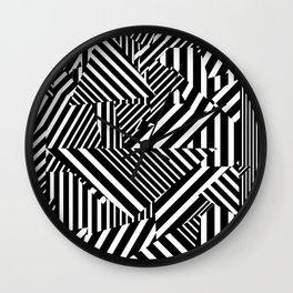 Dazzle Camo #01 - Black & White Wall Clock