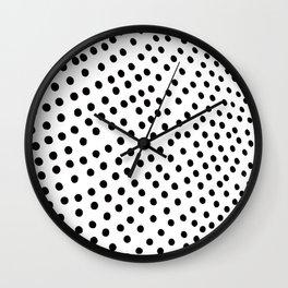 Warped Black Polka Dot Rain Wall Clock