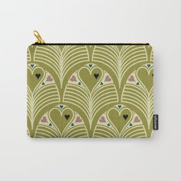 Heart Deco in Olive Carry-All Pouch