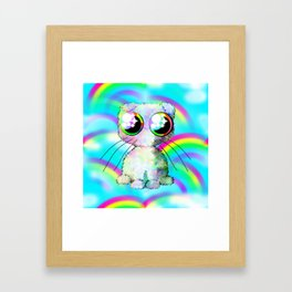 curly kawaii pet on rainbow and cloud background Framed Art Print