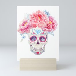 Mexican Skull Bone Candy Calavera Flower Crown Diamond Third Eye Flowers Watercolor Painting Mini Art Print