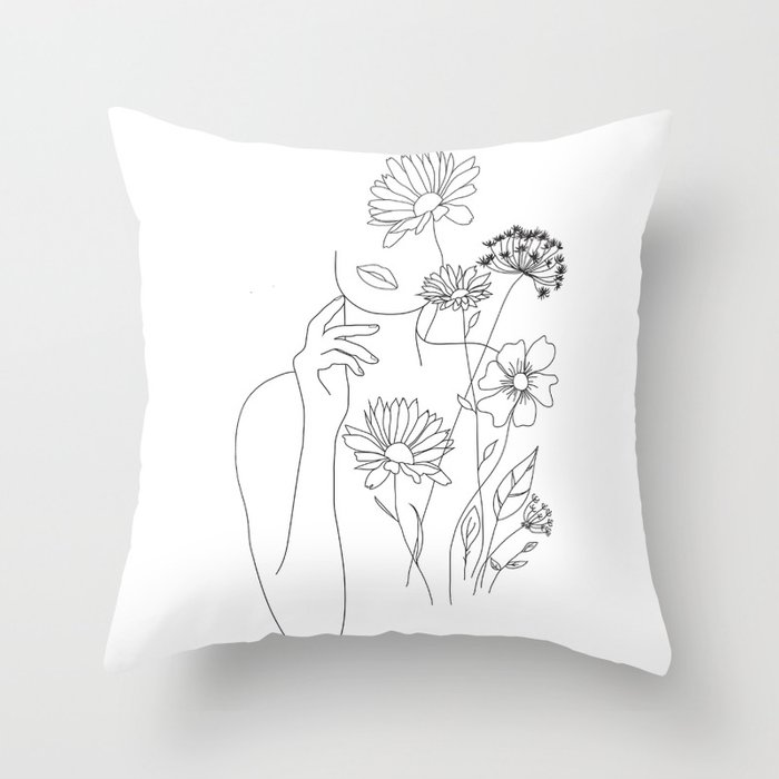 Minimal Line Art Woman with Flowers III Throw Pillow