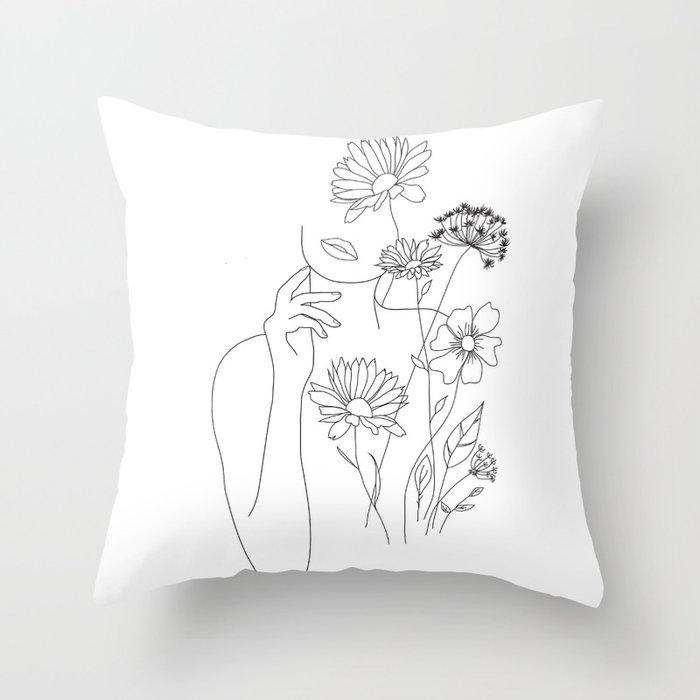 Minimal Line Art Woman with Flowers III Throw Pillow