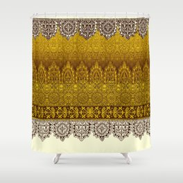 crochet lace in cream Shower Curtain