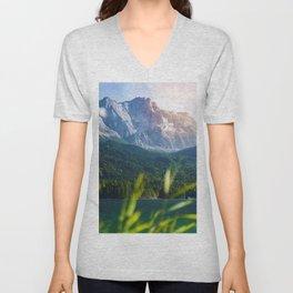 Grass Mountain View (Color) Unisex V-Neck