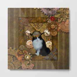 Funny cat with steampunk hat Metal Print