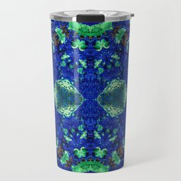 Malachite and Azurite with a geometric kaleidoscopic design Travel Mug