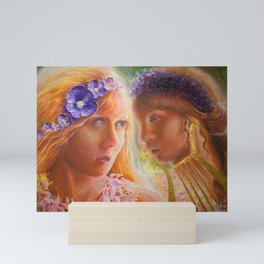 Sappho and the girl who was forced to leave the Isle of Lesbos Mini Art Print
