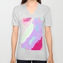 Abstract magenta pink lavender watercolor brushstrokes Unisex V-Neck
