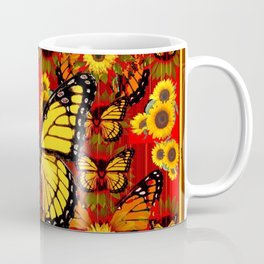COFFEE BROWN MONARCH BUTTERFLY SUNFLOWERS Coffee Mug