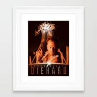 die hard Framed Art Prints featuring DIE HARD (1988) by Tom Ralston