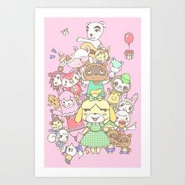 Animal Crossing (pink) Art Print