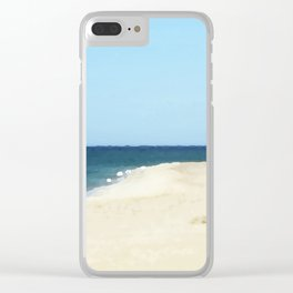 Minimalist Sand, Sea, and Sky Clear iPhone Case