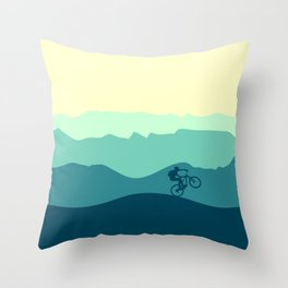 Mountain Biker cycling in the mountains  Throw Pillow
