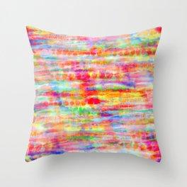 Light Rainbow Tie Dye Stripes Throw Pillow