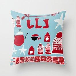 winter gear blue Throw Pillow