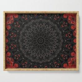 Red and Black Bohemian Mandala Design Serving Tray
