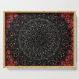Red and Black Bohemian Mandala Design Serving Tray