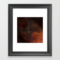 Celtic Knotwork Cross Rust Texture No 1 Framed Art Print