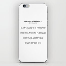 The Four Agreements #minismalism #shortversion iPhone Skin
