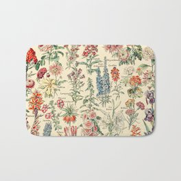 Vintage Floral Drawings // Fleurs by Adolphe Millot XL 19th Century Science Textbook Artwork Bath Mat