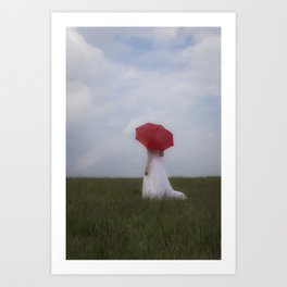 Bride with red umbrella Art Print