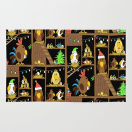 Chicken Coop Christmas - funny chickens, farm, holidays Rug