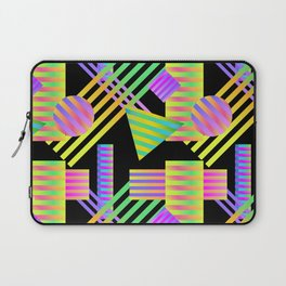 Neon Ombre 90's Striped Shapes Laptop Sleeve