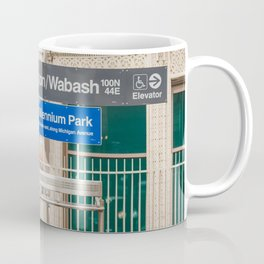 Washington & Wabash - Chicago El Stop Photography Coffee Mug