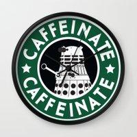dalek Wall Clocks featuring Dalek Caffeinate by ThePhantomMoon