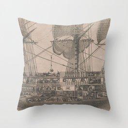Vintage Historical American Battleship Diagram (1854) Throw Pillow