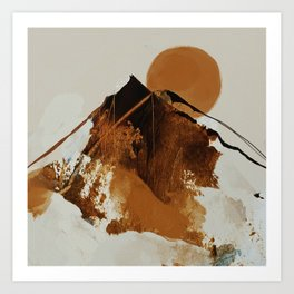 abstract mountains, rustic orange sunrise Art Print