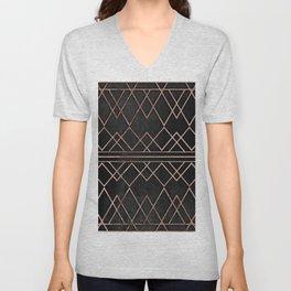 Chic & Elegant Faux Rose Gold Geometric Triangles Unisex V-Neck