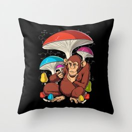 Psychedelic Psilocybin Magic Mushrooms Stoned Ape Throw Pillow