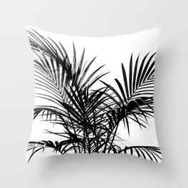 Little palm tree in black Throw Pillow