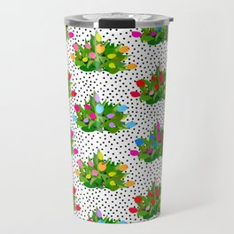 Tulip Bouquets in Black + White Dots Travel Mug
