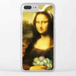 Easter Mona Lisa with Bunny Ears and Colored Eggs Clear iPhone Case