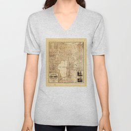 Topographical map of Lake Tahoe (1874) Unisex V-Neck