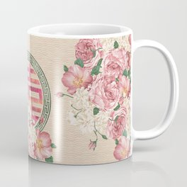 Watercolor Double Happiness Symbol with  Peony flowers Coffee Mug