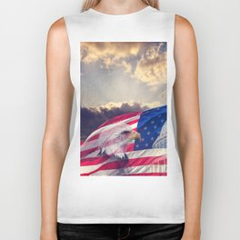 The United States Capitol, American Flag and Bald Eagle with aged,grunge effect. Biker Tank