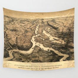 Vintage Ohio & Mississippi River Junction Map (1861) Wall Tapestry