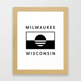 Milwaukee Wisconsin - White - People's Flag of Milwaukee Framed Art Print